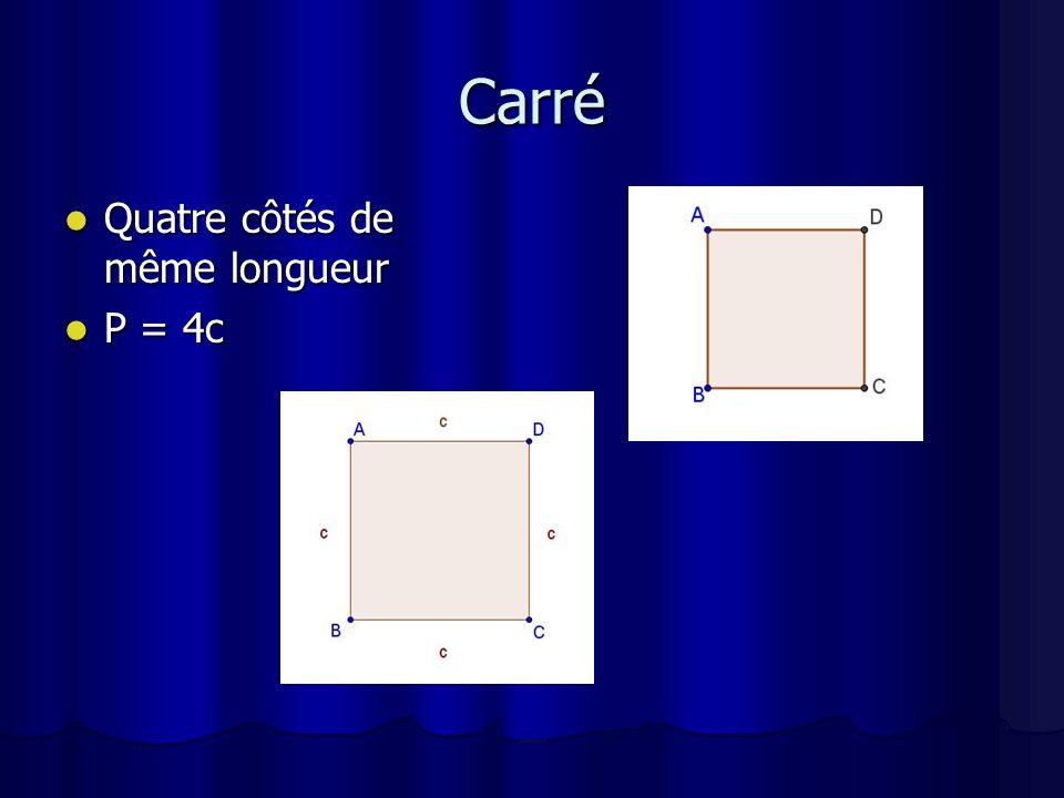 Losange Quatre côtés de même longueur Quatre côtés de même longueur P = 4c P = 4c