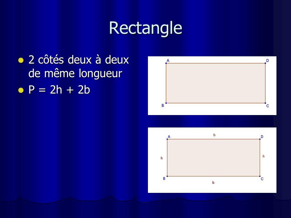 Parallélogramme 2 côtés deux à deux de même longueur 2 côtés deux à deux de même longueur P = 2a + 2b P = 2a + 2b