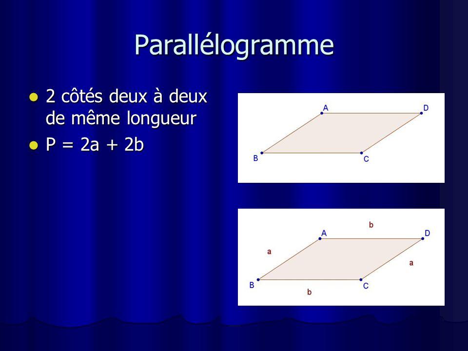 Triangle 3 côtés de longueur différente 3 côtés de longueur différente P = a + b + c P = a + b + c
