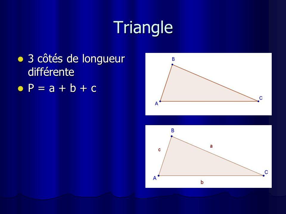 Triangle équilatéral 3 côtés de même longueur 3 côtés de même longueur P = 3c P = 3c