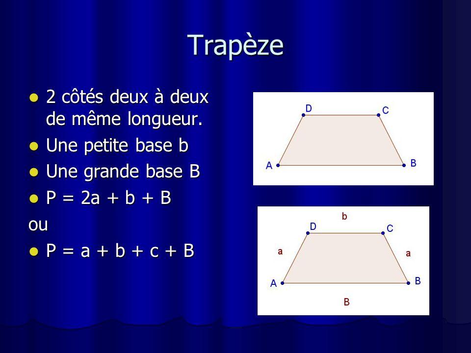 Polygone régulier Hexagone: 6 côtés de même longueur Hexagone: 6 côtés de même longueur P = 6c P = 6c Donc le périmètre = le nombre de côté x le côté Donc le périmètre = le nombre de côté x le côté