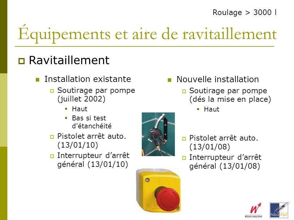 Installation existante Soutirage par pompe (juillet 2002) Haut Bas si test détanchéité Pistolet arrêt auto. (13/01/10) Interrupteur darrêt général (13