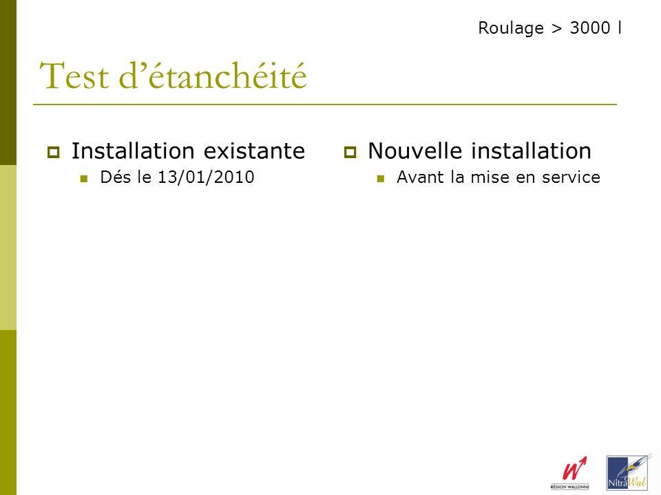 Installation existante Dés le 13/01/2010 Nouvelle installation Avant la mise en service Test détanchéité Roulage > 3000 l