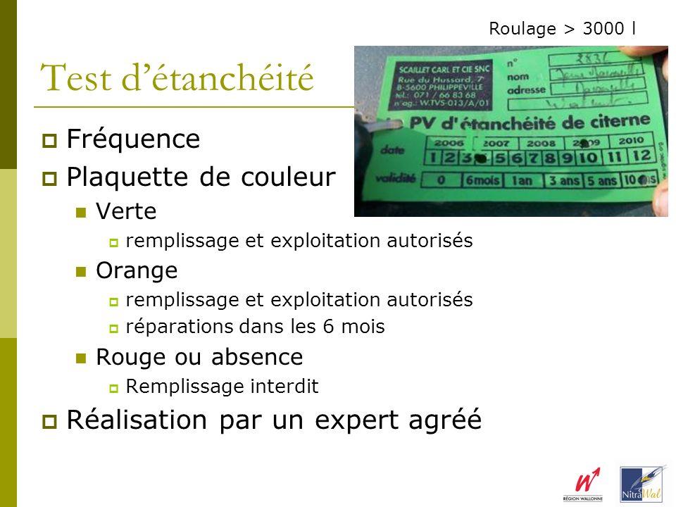 Fréquence Plaquette de couleur Verte remplissage et exploitation autorisés Orange remplissage et exploitation autorisés réparations dans les 6 mois Ro