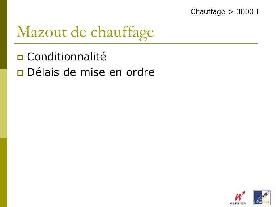 Conditionnalité Délais de mise en ordre Mazout de chauffage Chauffage > 3000 l