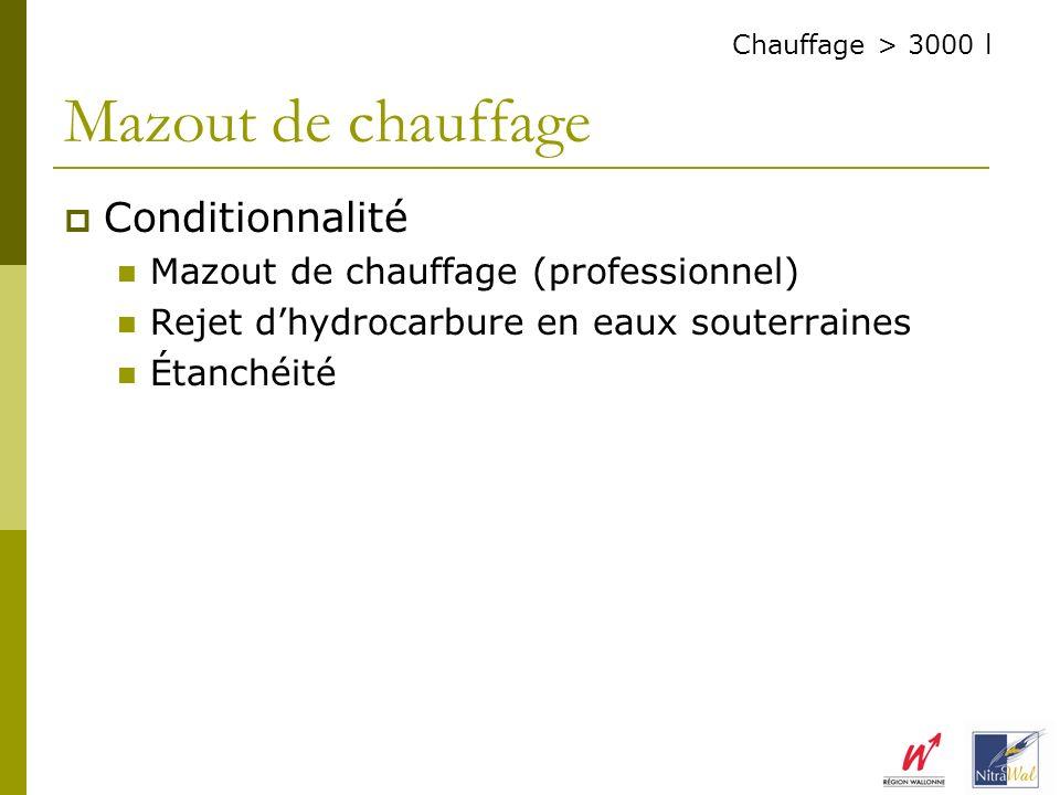 Conditionnalité Mazout de chauffage (professionnel) Rejet dhydrocarbure en eaux souterraines Étanchéité Mazout de chauffage Chauffage > 3000 l