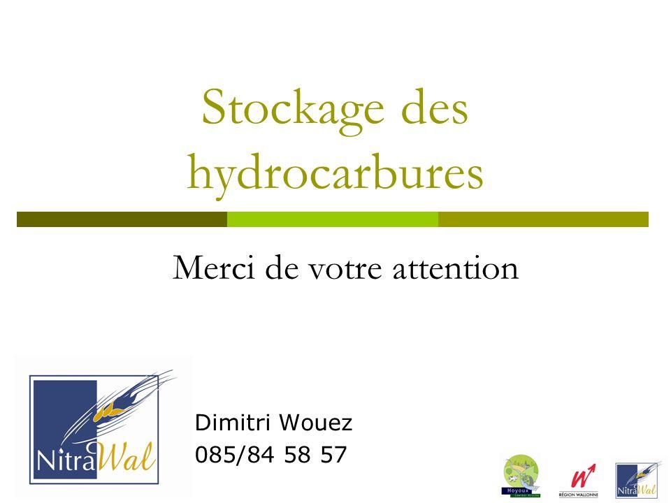 Stockage des hydrocarbures Dimitri Wouez 085/84 58 57 Merci de votre attention
