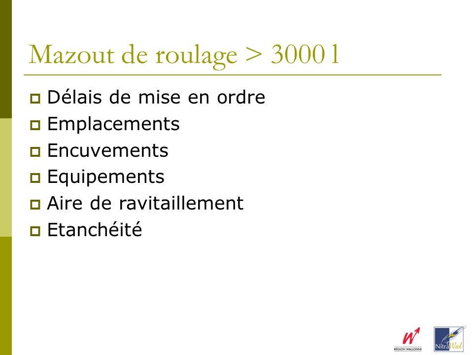 Mazout de roulage > 3000 l Délais de mise en ordre Emplacements Encuvements Equipements Aire de ravitaillement Etanchéité