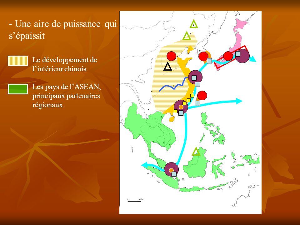 Le développement de lintérieur chinois Les pays de lASEAN, principaux partenaires régionaux - Une aire de puissance qui sépaissit TOKYO SHANGHAI HONG-KONG SINGAPOUR Osaka Séoul Beijin Taipei