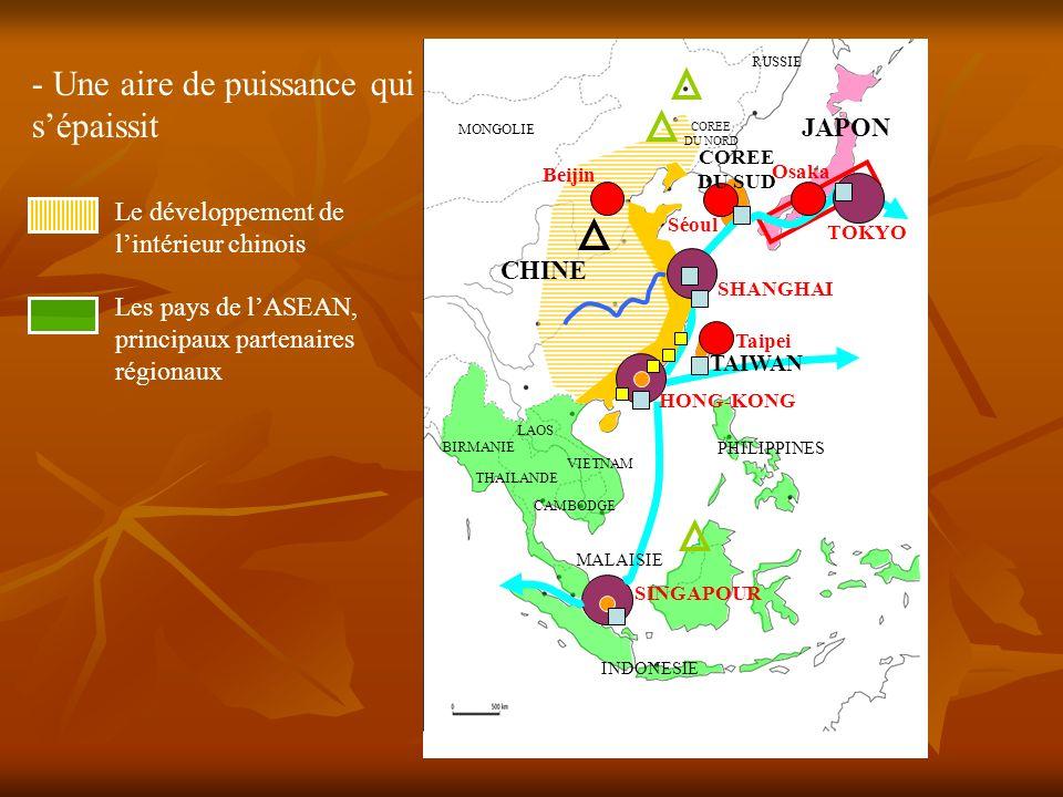 Le développement de lintérieur chinois Les pays de lASEAN, principaux partenaires régionaux - Une aire de puissance qui sépaissit TOKYO SHANGHAI HONG-KONG SINGAPOUR Osaka Séoul Beijin Taipei CHINE JAPON TAIWAN INDONESIE MALAISIE THAILANDE BIRMANIE PHILIPPINES LAOS CAMBODGE VIETNAM MONGOLIE RUSSIE COREE DU NORD COREE DU SUD Kaoshiung Pusan Détroit de Malacca Océan indien Océan pacifique Mer de Chine Mer du Japon Brunei Mandchourie Ningbo Yokohama