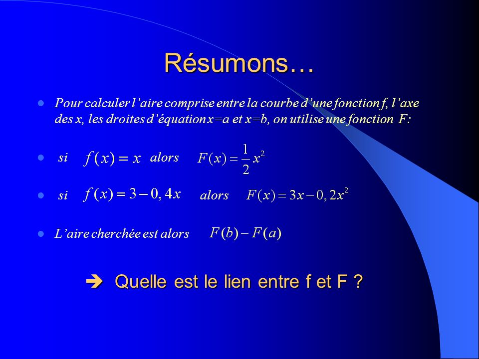 Résumons… Pour calculer laire comprise entre la courbe dune fonction f, laxe des x, les droites déquation x=a et x=b, on utilise une fonction F: si alors Laire cherchée est alors Quelle est le lien entre f et F .
