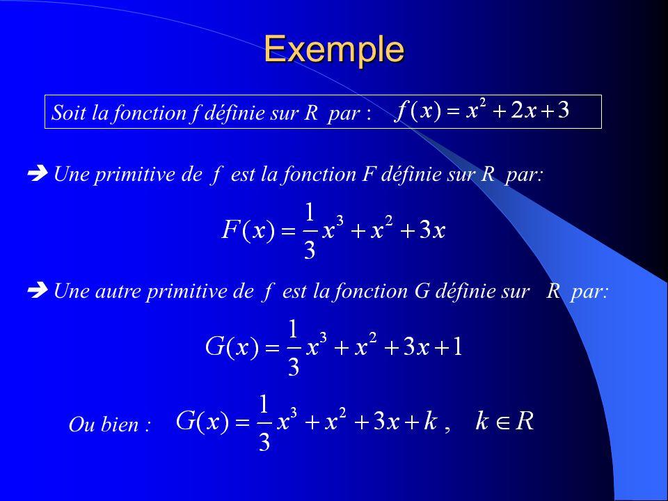 Exemple Soit la fonction f définie sur R par : Une primitive de f est la fonction F définie sur R par: Une autre primitive de f est la fonction G définie sur R par: Ou bien :