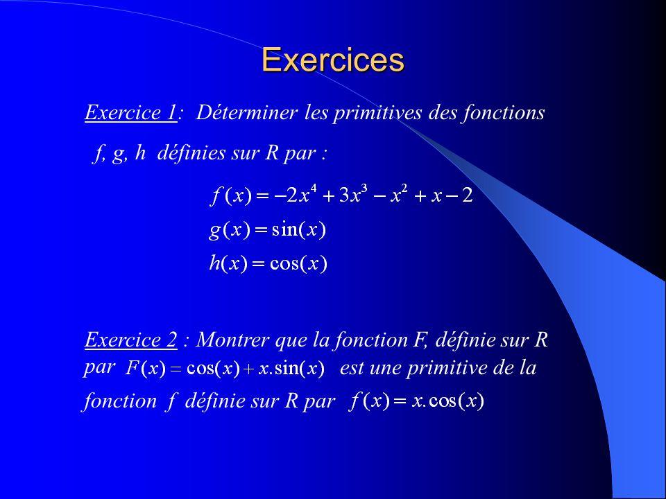 Exercices Exercice 1: Déterminer les primitives des fonctions f, g, h définies sur R par : Exercice 2 : Montrer que la fonction F, définie sur R par est une primitive de la fonction f définie sur R par