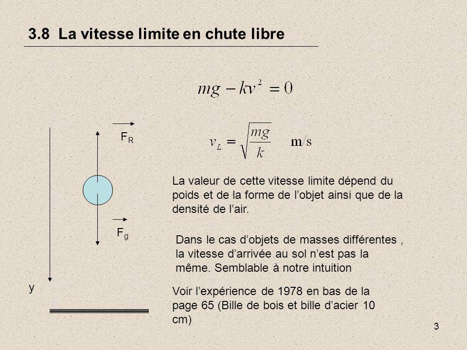 4 3.8 La vitesse limite en chute libre Graphique de la vitesse en fonction du temps dun objet tombant dans lair page 65 V (m/s) vLvL Vitesse limite vide Diminution de laccélération Note x = laire sous la courbe