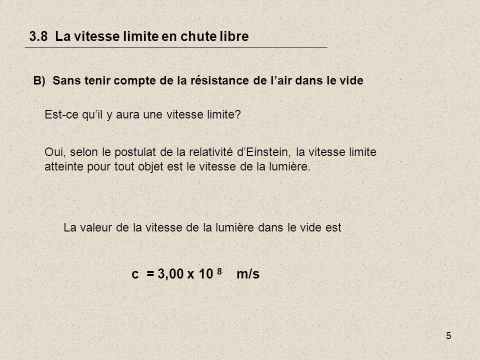 5 3.8 La vitesse limite en chute libre B) Sans tenir compte de la résistance de lair dans le vide Est-ce quil y aura une vitesse limite.