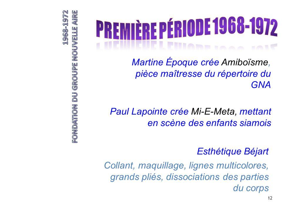 12 Martine Époque crée Amiboïsme, pièce maîtresse du répertoire du GNA Paul Lapointe crée Mi-E-Meta, mettant en scène des enfants siamois Esthétique B