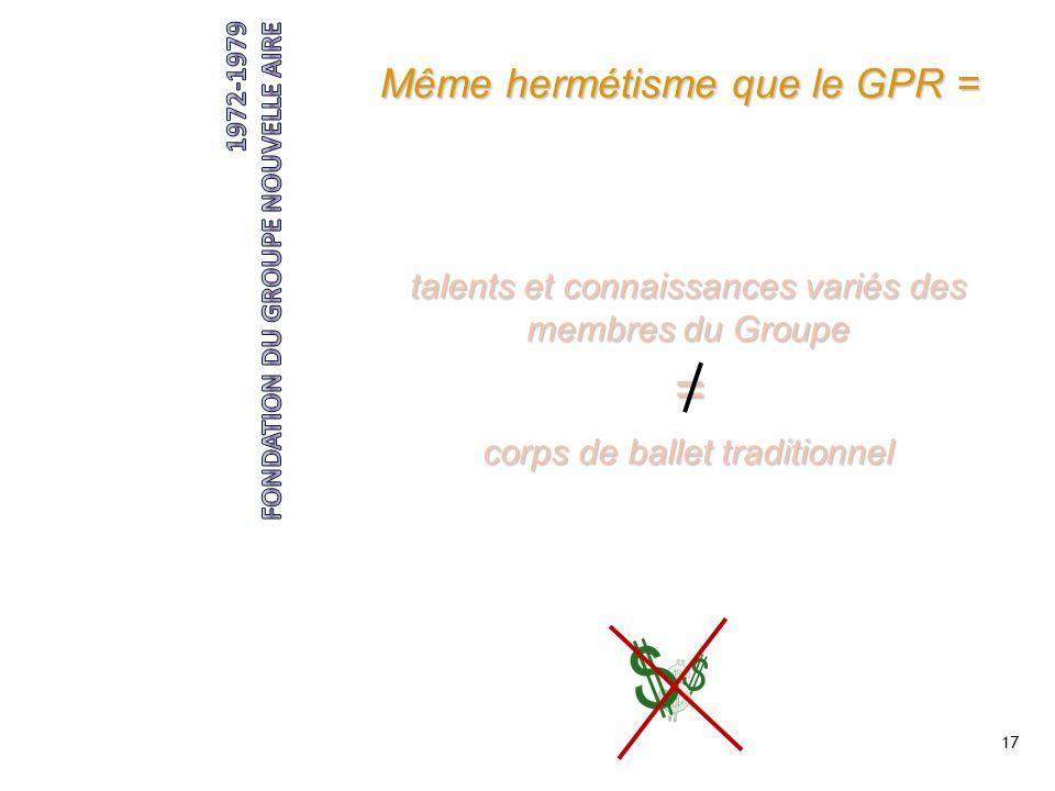 17 Même hermétisme que le GPR = compagnie expérimentale dont laccessibilité au produit importe peu talents et connaissances variés des membres du Grou