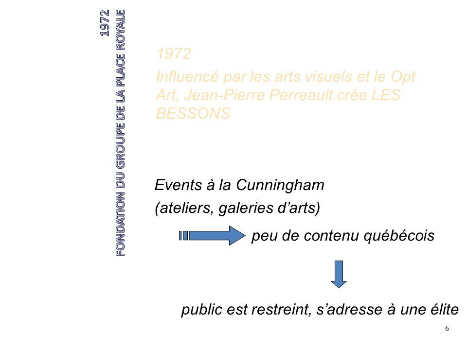 6 1972 Influencé par les arts visuels et le Opt Art, Jean-Pierre Perreault crée LES BESSONS Events à la Cunningham (ateliers, galeries darts) peu de c