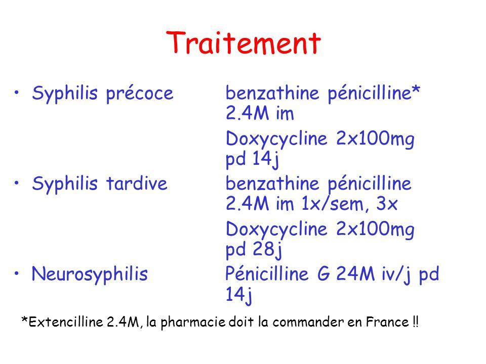 Traitement Syphilis précocebenzathine pénicilline* 2.4M im Doxycycline 2x100mg pd 14j Syphilis tardivebenzathine pénicilline 2.4M im 1x/sem, 3x Doxycy