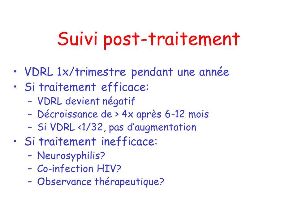 Suivi post-traitement VDRL 1x/trimestre pendant une année Si traitement efficace: –VDRL devient négatif –Décroissance de > 4x après 6-12 mois –Si VDRL