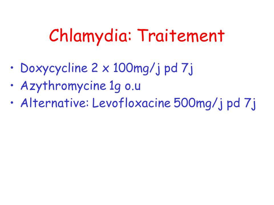 Chlamydia: Traitement Doxycycline 2 x 100mg/j pd 7j Azythromycine 1g o.u Alternative: Levofloxacine 500mg/j pd 7j