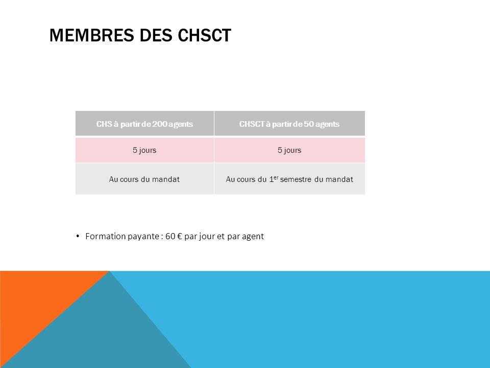 MEMBRES DES CHSCT CHS à partir de 200 agentsCHSCT à partir de 50 agents 5 jours Au cours du mandatAu cours du 1 er semestre du mandat Formation payante : 60 par jour et par agent