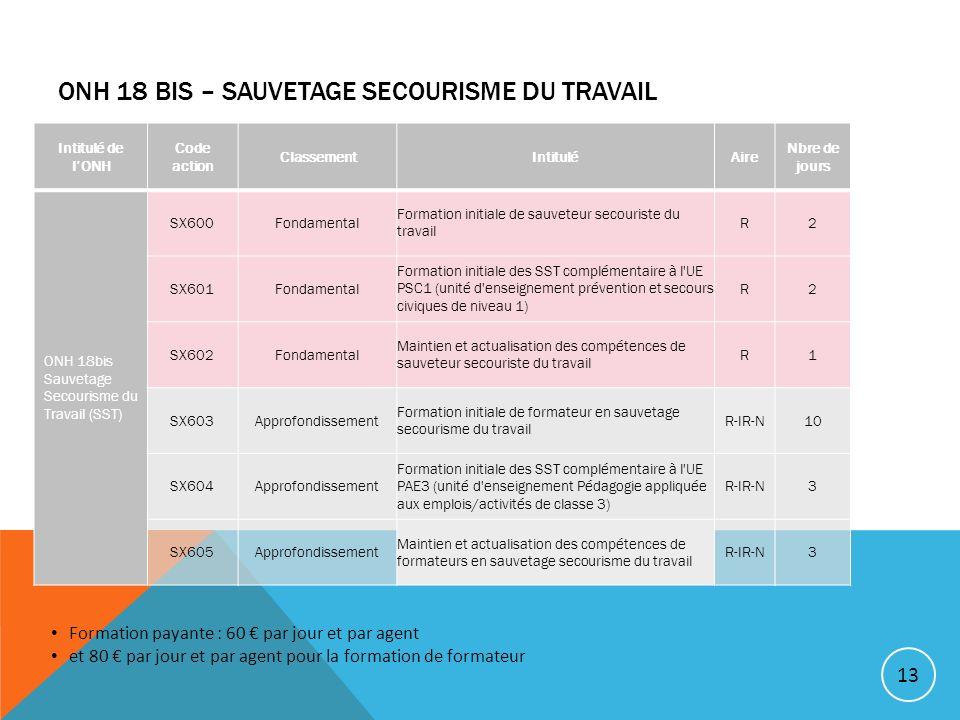 ONH 18 BIS – SAUVETAGE SECOURISME DU TRAVAIL 13 Intitulé de lONH Code action ClassementIntituléAire Nbre de jours ONH 18bis Sauvetage Secourisme du Tr