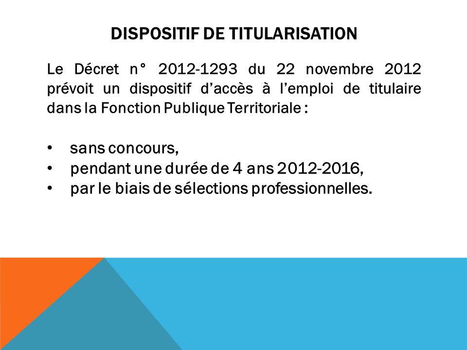 DISPOSITIF DE TITULARISATION Le Décret n° 2012-1293 du 22 novembre 2012 prévoit un dispositif daccès à lemploi de titulaire dans la Fonction Publique Territoriale : sans concours, pendant une durée de 4 ans 2012-2016, par le biais de sélections professionnelles.