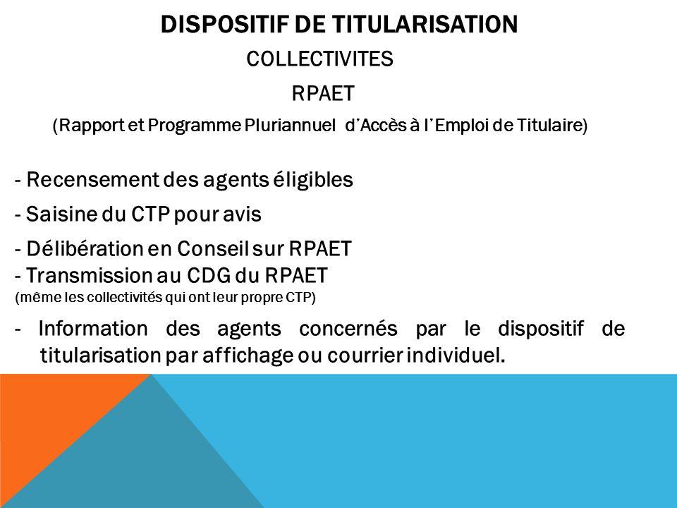 DISPOSITIF DE TITULARISATION COLLECTIVITES RPAET (Rapport et Programme Pluriannuel dAccès à lEmploi de Titulaire) - Recensement des agents éligibles -