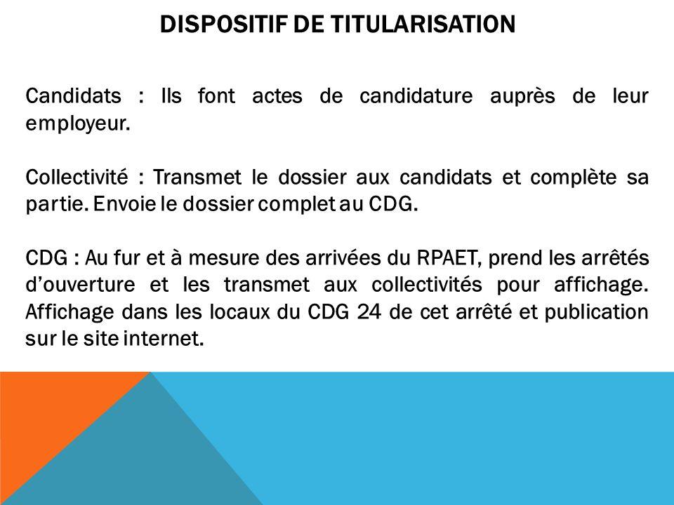 DISPOSITIF DE TITULARISATION Candidats : Ils font actes de candidature auprès de leur employeur. Collectivité : Transmet le dossier aux candidats et c