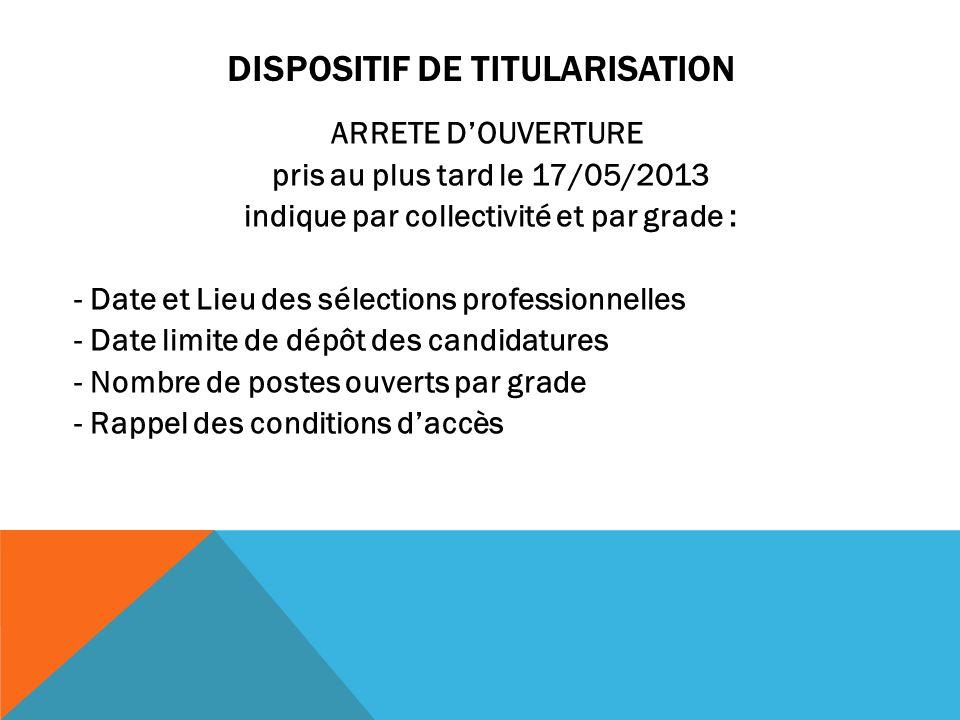 DISPOSITIF DE TITULARISATION ARRETE DOUVERTURE pris au plus tard le 17/05/2013 indique par collectivité et par grade : - Date et Lieu des sélections p