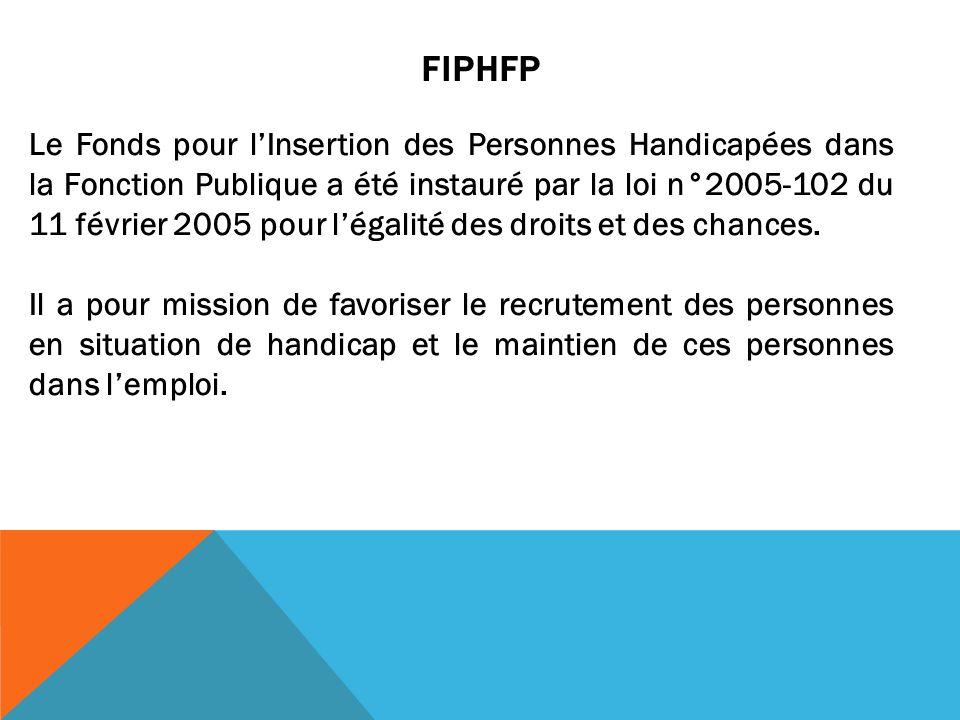 Le Fonds pour lInsertion des Personnes Handicapées dans la Fonction Publique a été instauré par la loi n°2005-102 du 11 février 2005 pour légalité des