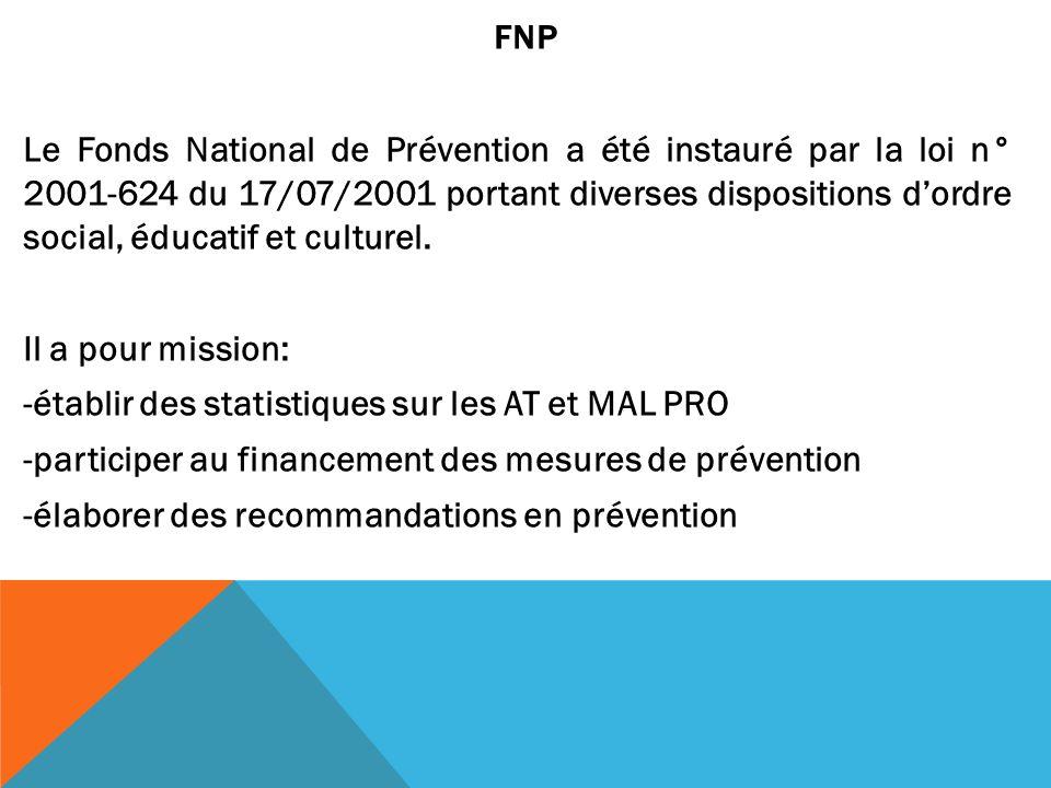 FNP Le Fonds National de Prévention a été instauré par la loi n° 2001-624 du 17/07/2001 portant diverses dispositions dordre social, éducatif et cultu