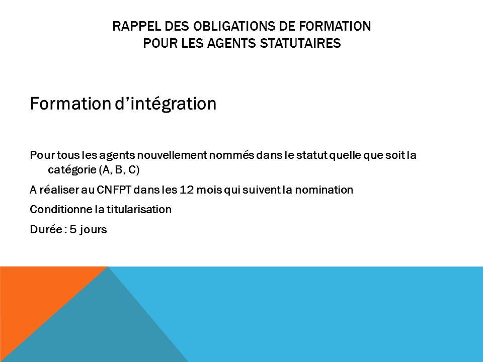 RAPPEL DES OBLIGATIONS DE FORMATION POUR LES AGENTS STATUTAIRES Formation dintégration Pour tous les agents nouvellement nommés dans le statut quelle