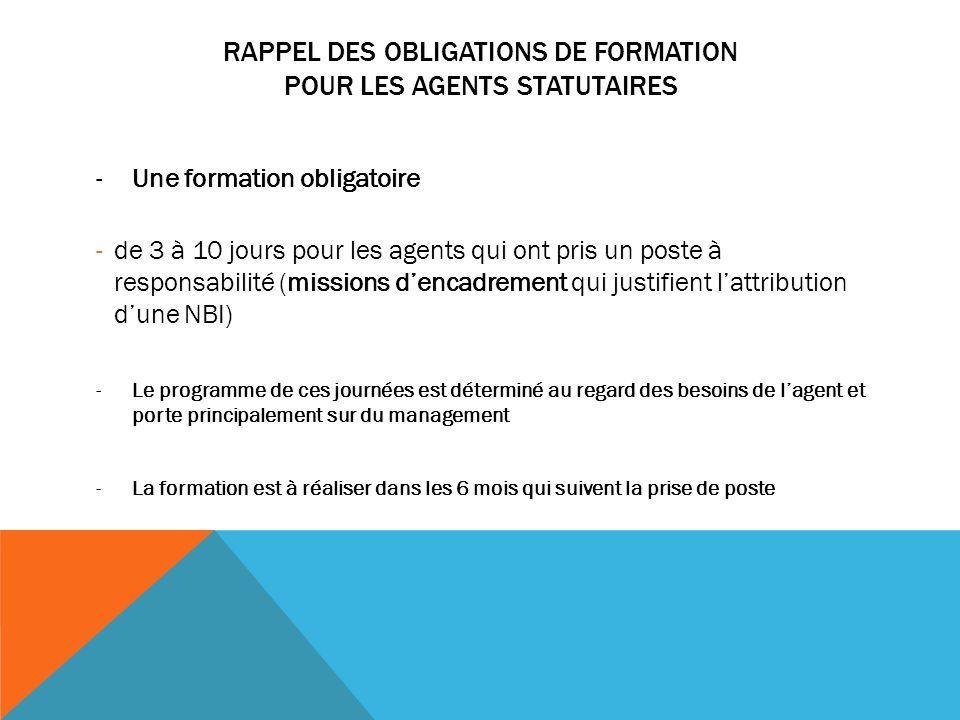 RAPPEL DES OBLIGATIONS DE FORMATION POUR LES AGENTS STATUTAIRES -Une formation obligatoire -de 3 à 10 jours pour les agents qui ont pris un poste à re