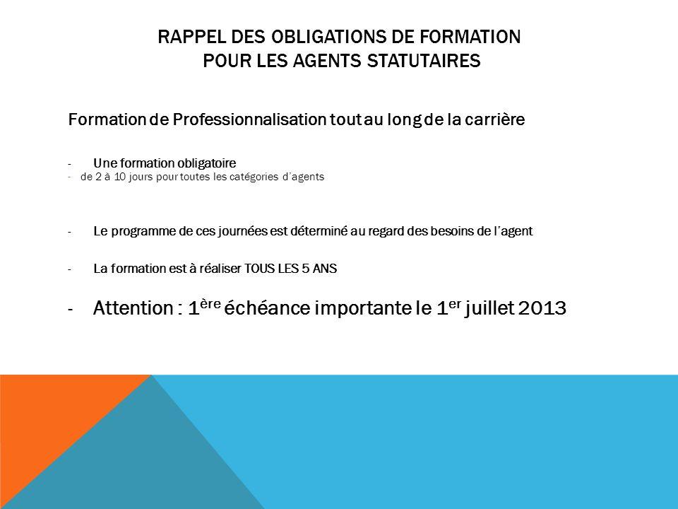 RAPPEL DES OBLIGATIONS DE FORMATION POUR LES AGENTS STATUTAIRES Formation de Professionnalisation tout au long de la carrière -Une formation obligatoi