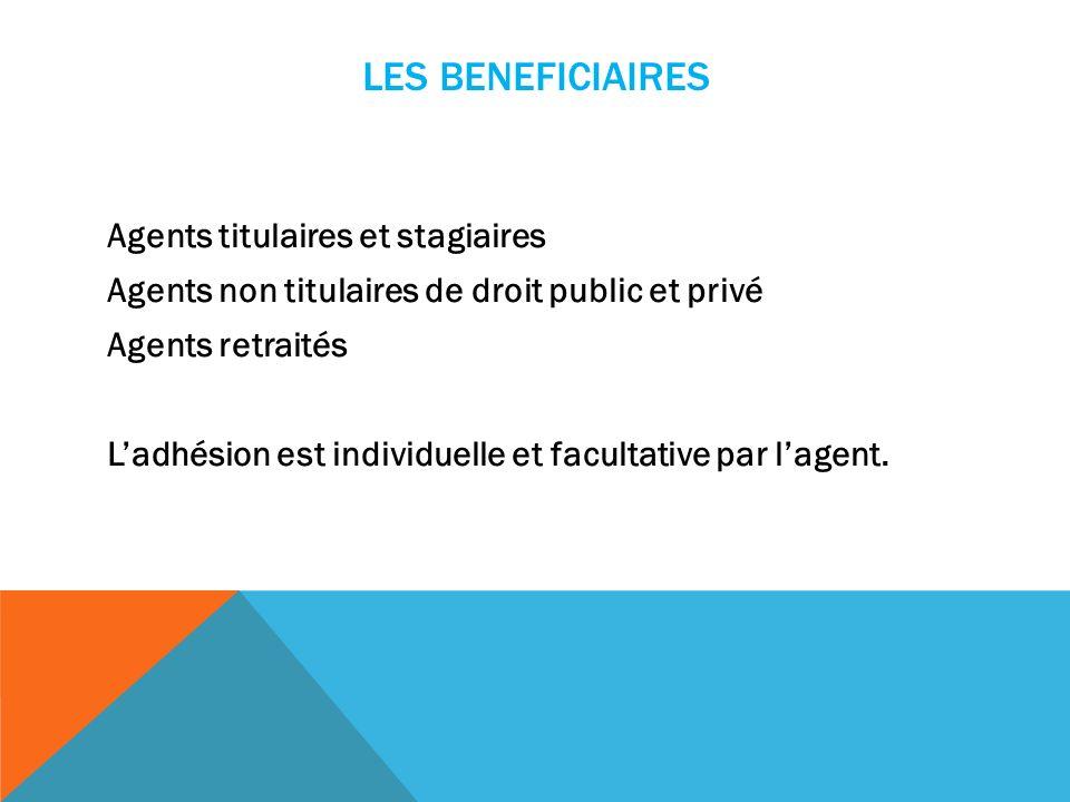 LES BENEFICIAIRES Agents titulaires et stagiaires Agents non titulaires de droit public et privé Agents retraités Ladhésion est individuelle et facultative par lagent.