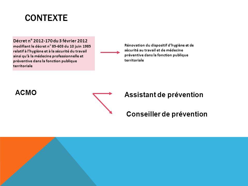 CONTEXTE Décret n° 2012-170 du 3 février 2012 modifiant le décret n° 85-603 du 10 juin 1985 relatif à lhygiène et à la sécurité du travail ainsi quà l