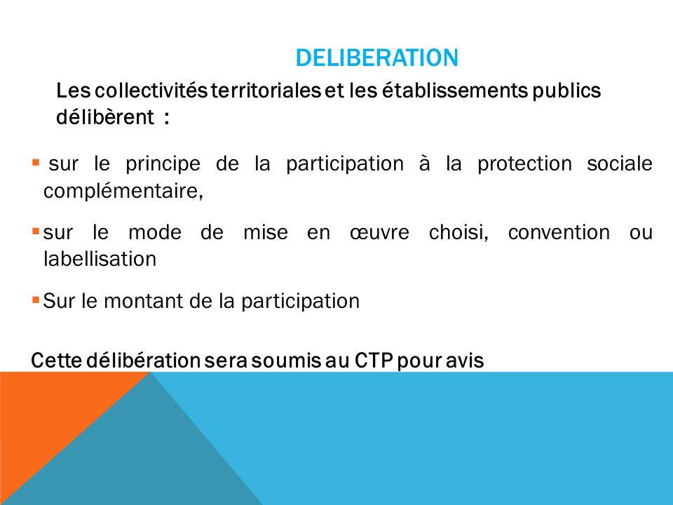 DELIBERATION Les collectivités territoriales et les établissements publics délibèrent : sur le principe de la participation à la protection sociale co