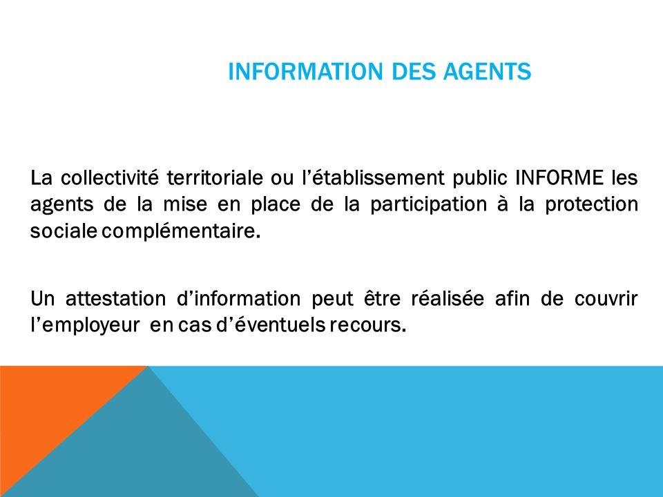 INFORMATION DES AGENTS La collectivité territoriale ou létablissement public INFORME les agents de la mise en place de la participation à la protectio