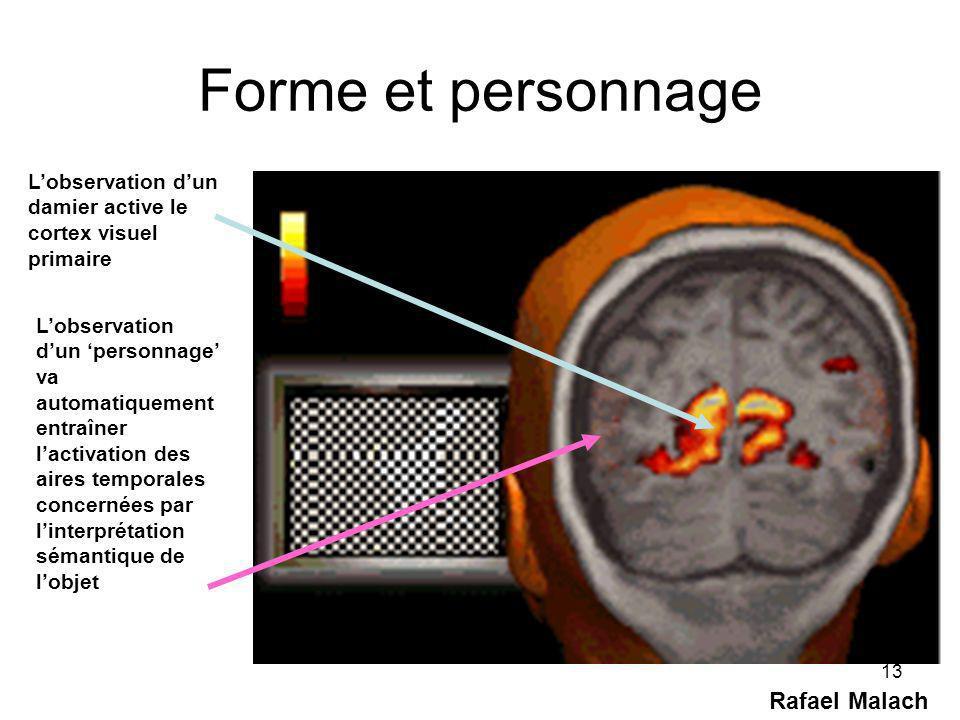 13 Forme et personnage Rafael Malach Lobservation dun damier active le cortex visuel primaire Lobservation dun personnage va automatiquement entraîner lactivation des aires temporales concernées par linterprétation sémantique de lobjet
