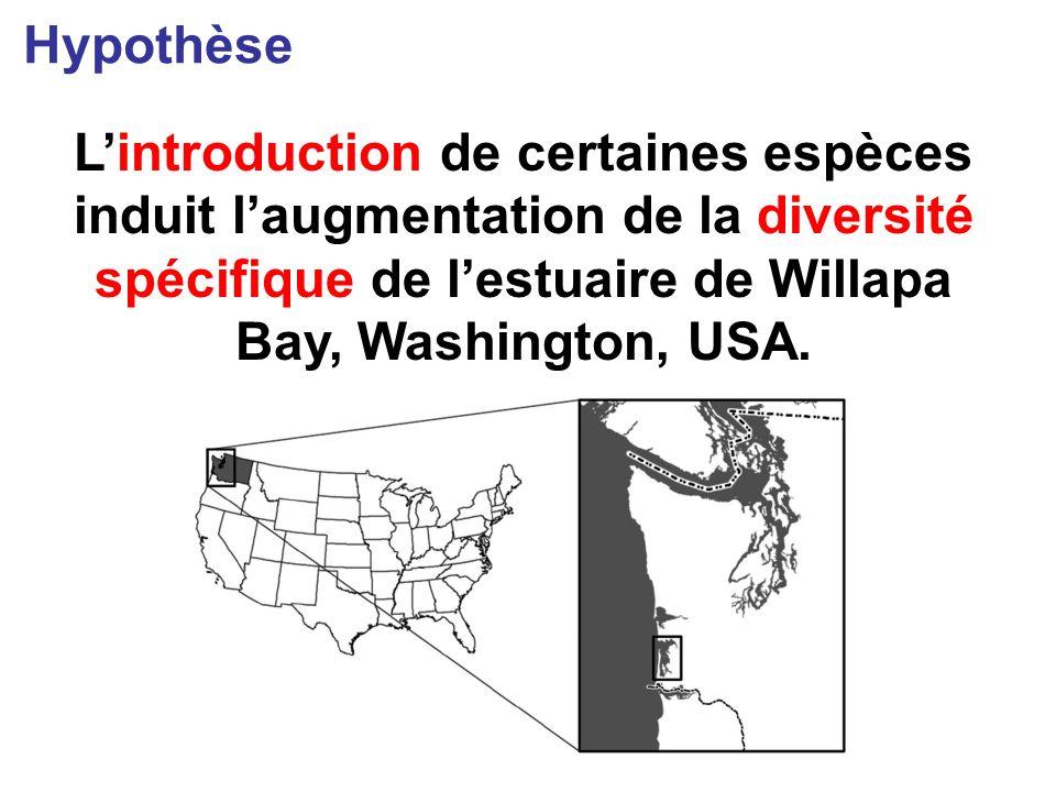 Lintroduction de certaines espèces induit laugmentation de la diversité spécifique de lestuaire de Willapa Bay, Washington, USA.