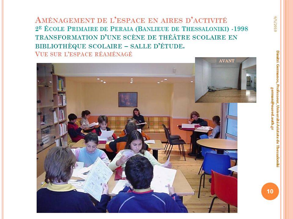 A MÉNAGEMENT DE L ESPACE EN AIRES D ACTIVITÉ 2 E É COLE P RIMAIRE DE P ERAIA (B ANLIEUE DE T HESSALONIKI ) - 1998 TRANSFORMATION D UNE SCÈNE DE THÉÂTR