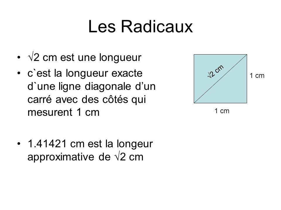 Les Radicaux 2 cm est une longueur c`est la longueur exacte d`une ligne diagonale dun carré avec des côtés qui mesurent 1 cm 1.41421 cm est la longeur approximative de 2 cm 1 cm 2 cm