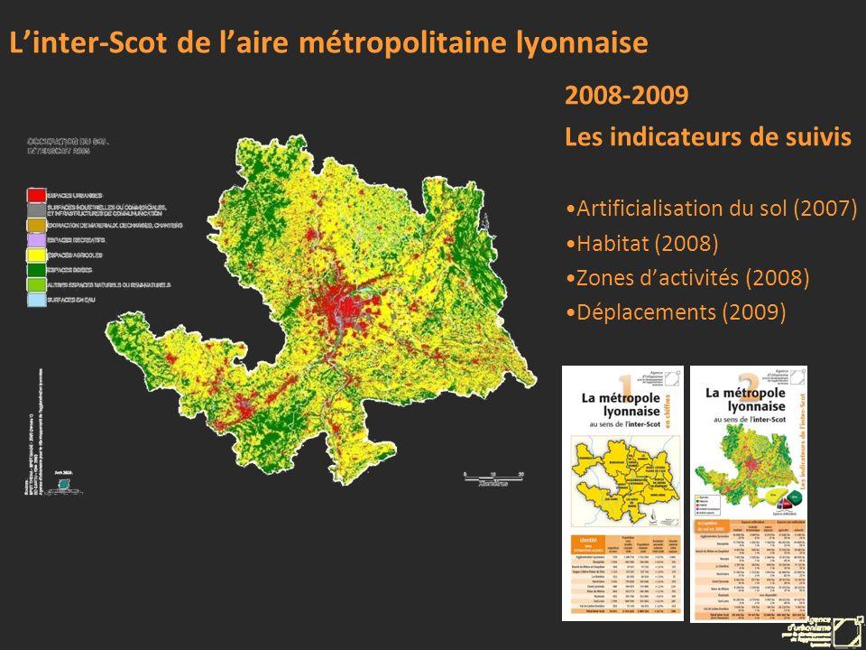 Linter-Scot de laire métropolitaine lyonnaise 2008-2009 Les indicateurs de suivis Artificialisation du sol (2007) Habitat (2008) Zones dactivités (200