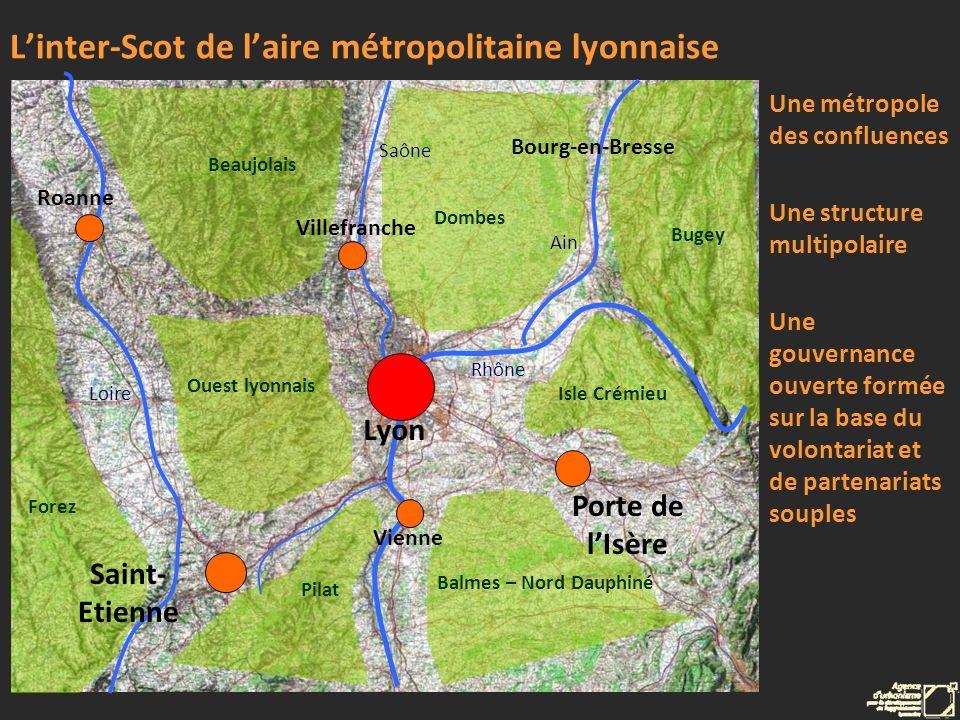 Beaujolais Ouest lyonnais Dombes Pilat Isle Crémieu Balmes – Nord Dauphiné Forez Bugey Loire Rhône Saône Ain Linter-Scot de laire métropolitaine lyonn