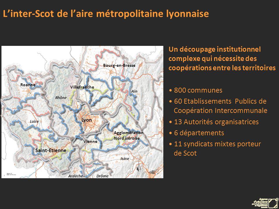 Linter-Scot de laire métropolitaine lyonnaise Un découpage institutionnel complexe qui nécessite des coopérations entre les territoires 800 communes 6