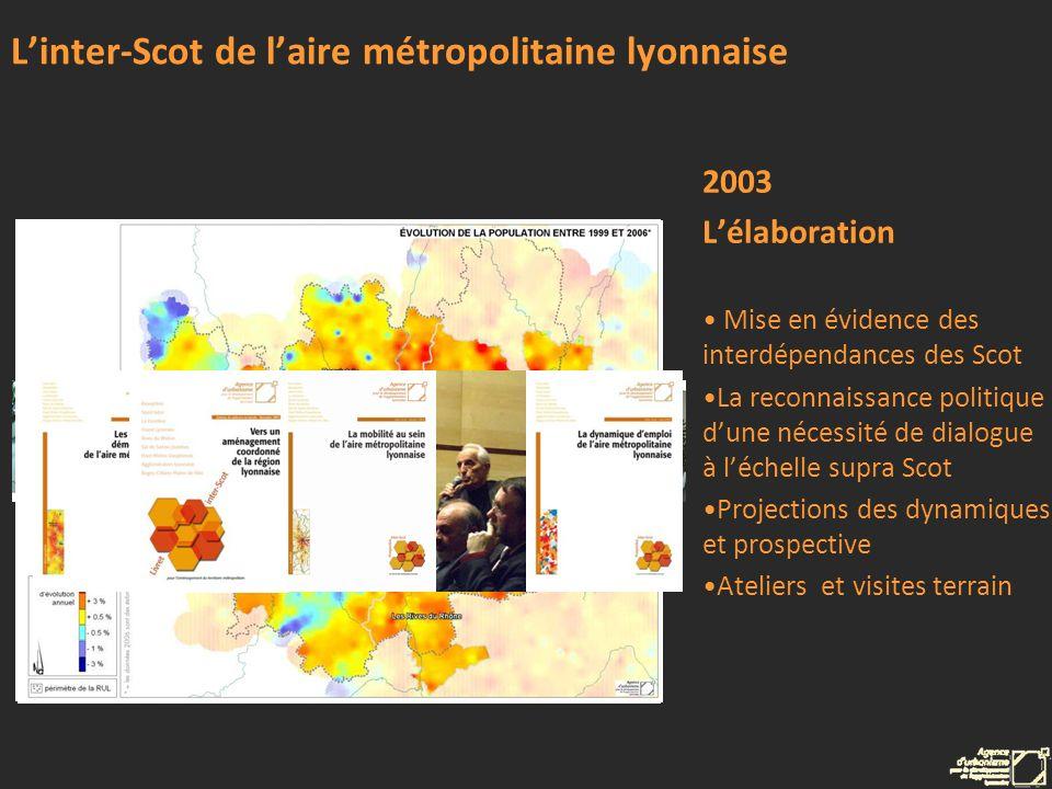 Linter-Scot de laire métropolitaine lyonnaise 2003 Lélaboration Mise en évidence des interdépendances des Scot La reconnaissance politique dune nécess