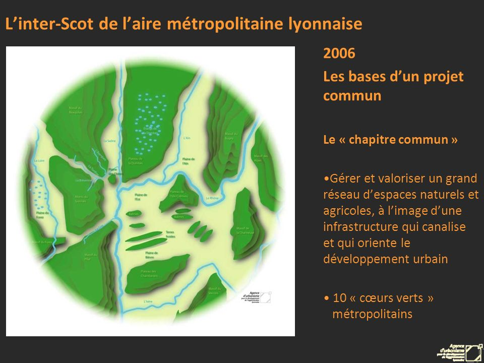 Linter-Scot de laire métropolitaine lyonnaise 2006 Les bases dun projet commun Le « chapitre commun » Rechercher une organisation urbaine multipolaire Localisation prioritaire des équipements dans 40 polarités urbaines Métropole des courtes distances