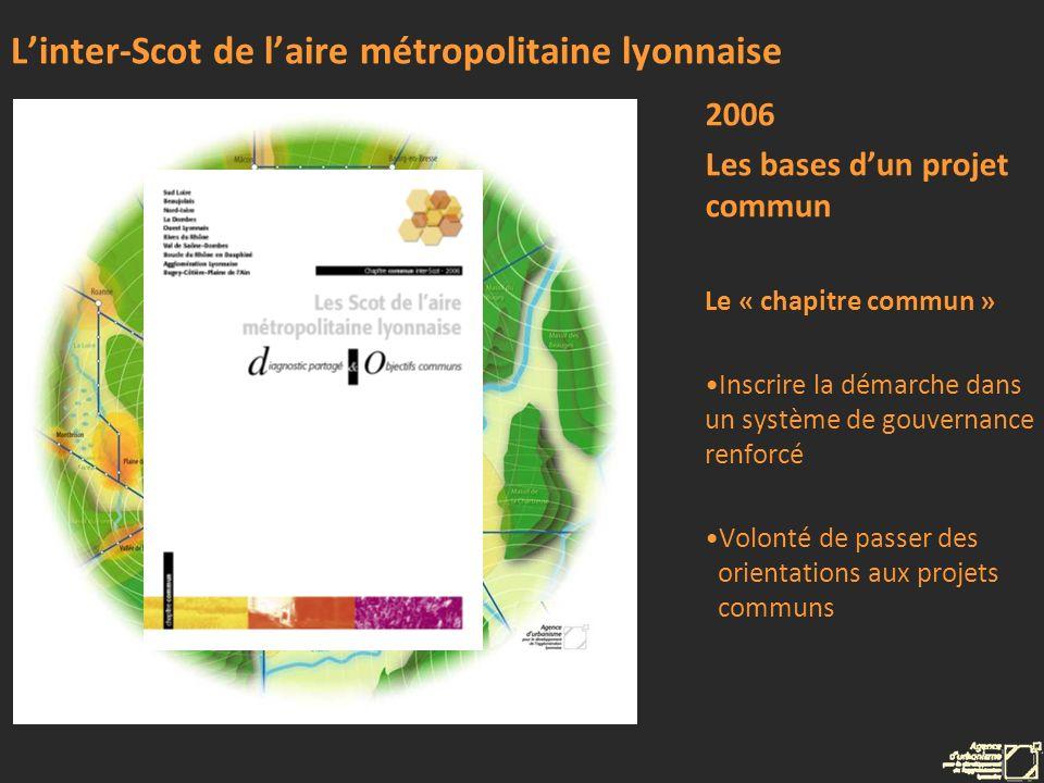 Linter-Scot de laire métropolitaine lyonnaise 2006 Les bases dun projet commun Le « chapitre commun » Inscrire la démarche dans un système de gouverna